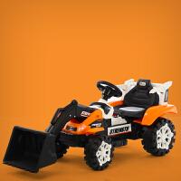 儿童挖掘机玩具车遥控推挖土机可坐可骑全电动大号男孩勾机工程车儿童节礼物 推土机4.5A电瓶单驱橘黄 电动推臂 官方标配