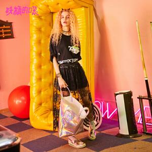 妖精的口袋pphome裙子2018新款圆领撞色chic蕾丝连衣裙女