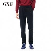 GXG休闲裤男装 秋季男士修身时尚休闲青年气质流行黑底蓝条长裤男