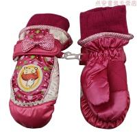 儿童手套冬季女孩男童手套加厚五指玩雪防水学生滑雪手套儿童保暖 均码