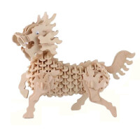 儿童小孩玩具批发木质3d立体拼图积木制拼装动物仿真恐龙模型