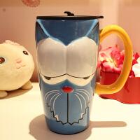 仟度 彩绘陶瓷杯 创意时尚马克杯 带盖带勺咖啡杯 大容量卡通水杯