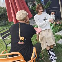 新款韩版原宿风宽松学生卡通印花情侣装圆领卫衣男女班服