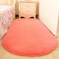 可爱椭圆形地毯地垫家用客厅茶几卧室地毯房间床边地毯床前毯 加厚羊羔绒 西瓜红 椭圆形 60X200厘米