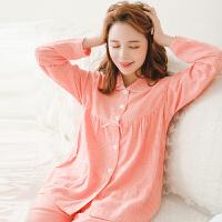 睡衣女春秋季纯棉长袖两件套装复古千鸟格绒布薄款甜美日系家居服
