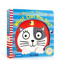 英文原版 Pussy Cat, Pussy Cat, What Can You See? 儿童启蒙纸板操作书 幼儿亲子互动阅读 0-3-6岁