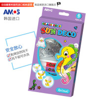 AMOS 韩国进口SD10P6-A 6色儿童DIY玻璃胶画(6色*10.5ML 6款动物挂件)钥匙扣 玻璃胶 当当自营