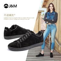 【低价秒杀】jm快乐玛丽秋季新款时尚平底套脚系带女板鞋黑色休闲鞋