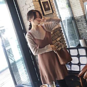 哆哆何伊新款冬季长袖针织连衣裙女假两件中长款毛衣