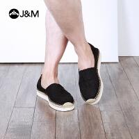 jm快乐玛丽2018春夏新款布鞋条纹厚底休闲帆布鞋男鞋懒人鞋57288M