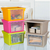 炫彩透明窗带盖收纳箱 可叠加收纳柜大号衣服收纳箱塑料整理箱衣物收纳盒有盖储物箱