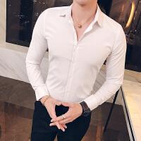 新款秋季薄衬衣男长袖纯白衬衣潮男修身简约韩版男装职业打底上衣