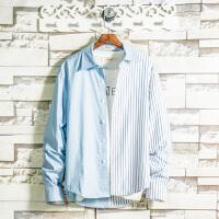 条纹拼接长袖衬衣男潮学生休闲衬衫