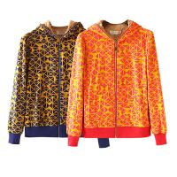女装冬装新 欧美风几何图案印花拉链长袖短外套女加绒