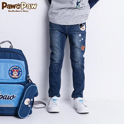 【1件5折 5件4.5折 到手价:224】Pawinpaw卡通小熊童装秋男童牛仔裤中小童卡通印花潮 卡通小熊童装