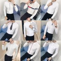 男士长袖衬衫条纹蕾丝拼接男个性夜店透视发型师衬衣
