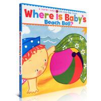 英文原版绘本 Where Is Baby's Beach Ball 纸板翻翻书 躲猫猫书 Karen Katz 卡伦卡
