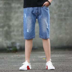 乌龟先森 儿童短裤 男童棉质条纹破洞五分裤夏季韩版新款时尚休闲百搭运动风中大童款裤子