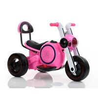 儿童电动车摩托车男女小孩三轮车1-2-4宝宝太空狗玩具车可坐摩托 粉红色 电动摩托车+音乐+彩灯