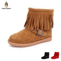 暇步士真皮牛反绒皮流苏靴子防滑保暖雪地靴 (5-9岁可选) P61121