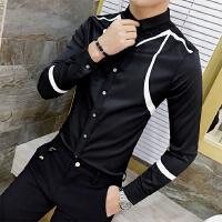 春季新款男士衬衣个性印花修身款长袖发型师休闲免烫白色衬衫