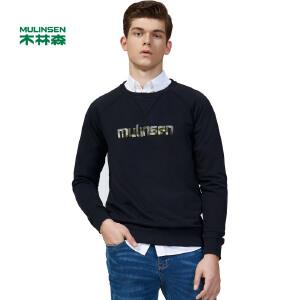 木林森男装 春季新款长袖t恤纯棉运动卫衣男圆领针织打底衫衣服11370903