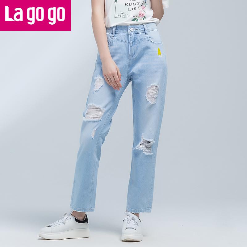 【两件5折后价114.5】【商场同款】Lagogo/拉谷谷2017年夏季新款时尚百搭纽扣牛仔裤GANN335F75