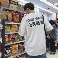 夏季新款情侣短袖t恤男日系青年潮流衣服宽松学生圆领五分袖体恤