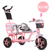 儿童三轮车双人宝宝脚踏车双胞胎手推车婴儿轻便童车大号1-3-6岁 白色 粉色+推把