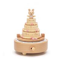 旋转木马音乐盒水晶球八音盒木质天空之城小女孩生日礼物女生儿童 小熊生日-生日快乐