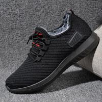 老北京布鞋男休闲鞋男士冬季透气飞织运动鞋黑色保暖加绒二棉鞋子