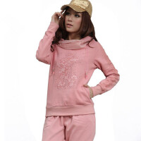 春秋女士运动套装韩版蕾丝连帽套头休闲运动衣