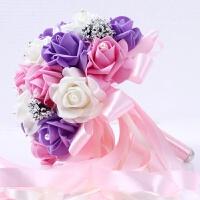 结婚用品新娘手捧花 婚礼捧花婚庆影楼道具婚纱照仿真玫瑰花束礼品