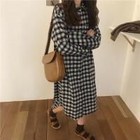 2018春装韩版宽松格子中长款衬衫长裙显瘦气质小清新连衣裙女学生