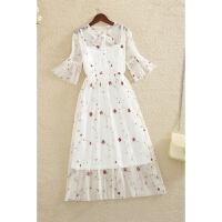 新款连衣裙夏季韩版时尚刺绣花朵蕾丝网纱长裙套装裙两件套