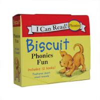 进口英文原版 Biscuit Phonics Fun 小饼干狗系列12册盒装 短元音自然拼读 英语启蒙绘本My Fir