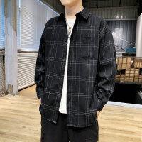 新款韩版格子男长袖衬衫格子潮流帅气青少年学生休闲衬衣男寸衣