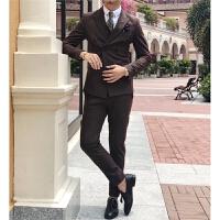 绅士基本款双排扣西服套装时尚修身小西装两件套