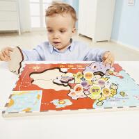 世界地图拼图儿童3-4-6周岁玩具木质男女孩早教木制