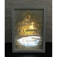 甲象光影纸雕灯diy材料创意礼物 卧室床头小台灯夜灯抖音剪纸刻灯 遥控开关