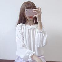 甜美少女雪纺衫青春减龄洋气蕾丝花边娃娃领日系软妹飘逸超仙上衣