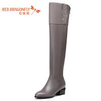 红蜻蜓过膝靴子女长靴18秋冬新款高跟加绒中跟韩版棉靴大码骑士靴