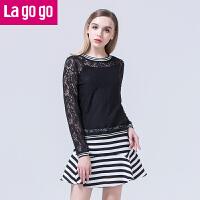 lagogo春夏季新款蕾丝吊带衫两件套打底衫女圆领长袖镂空短款上衣