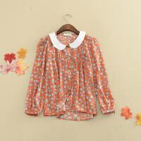 I12夏季韩版新款长袖单排扣显瘦雪纺衫上衣