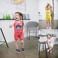 夏 儿童女童宝宝纯棉家居服套装卡通图案背心短裤套装