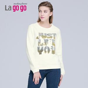 lagogo2015冬新款宽松卫衣套头T恤