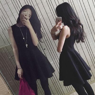 春夏韩版装高腰无袖背心打底裙气质修身显瘦赫本小黑裙a字连衣裙 发货周期:一般在付款后2-90天左右发货,具体发货时间请以与客服协商的时间为准