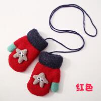 儿童手套冬季卡通男童女童连指挂脖手套宝宝保暖加绒手套