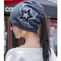 男女情侣款针织帽 女秋冬天毛线套头帽潮 两用围脖包头帽