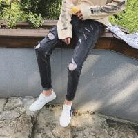 新款小号牛仔裤26加小码27码修身显瘦小脚裤破洞牛仔男裤韩版学生